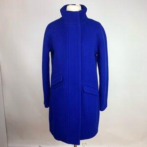 J Crew Cocoon Stadium Blue Wool Coat